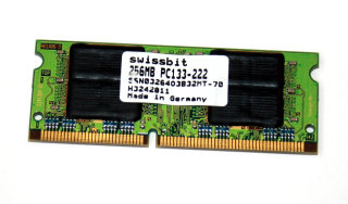 256 MB SO-DIMM 144-pin PC-133 SD-RAM CL2   Swissbit SSN0326403B32MT-70