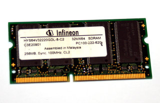 256 MB SO-DIMM 144-pin PC-100 CL2 Laptop-Memory  Infineon HYS64V32220GDL-8-C2