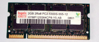 2 GB DDR2-RAM 200-pin SO-DIMM 2Rx8 PC2-5300S   Hynix HYMP125S64CP8-Y5 AB