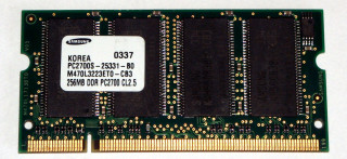 256 MB DDR-RAM 200-pin SO-DIMM PC-2700S  Samsung M470L3223ET0-CB3