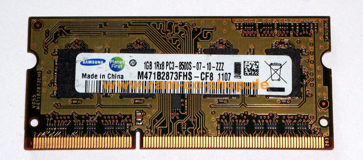 Samsung 1GB PC3-8500 SO-DIMM 1066 MHz DDR3 Memory Ram M471B2873FHS-CF8