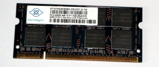 1 GB DDR2 RAM 200-pin SO-DIMM 2Rx8 PC2-4200S  Nanya NT1GT64U8HB0BN-37B