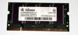 256 MB DDR RAM 200-pin SO-DIMM PC-2700S   Infineon HYS64D32020HDL-6-C