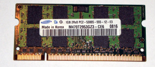 1 GB DDR2 RAM 2Rx8 PC2-5300S Laptop-Memory  Samsung M470T2953GZ3-CE6