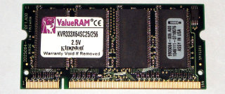 256 MB DDR-RAM 200-pin SO-DIMM PC-2700S Kingston KVR333X64SC25/256   9905064