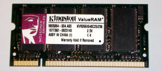 256 MB DDR-RAM 200-pin SO-DIMM PC-2100S Kingston KVR266X64SC25/256   9905064
