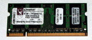 1 GB DDR2 200-pin SO-DIMM RAM PC2-4200S  Laptop-Memory Kingston KTM-TP3840/1G   9905295