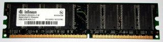 1 GB DDR-RAM 184-pin PC-3200U non-ECC  Infineon HYS64D128320HU-5-B