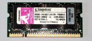 512 MB DDR-RAM 200-pin SO-DIMM PC-2100S Kingston KTM-TP0028/512  9905065  IBM FRU: 40P6234
