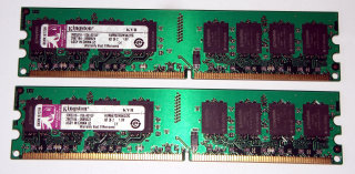 2 GB DDR2-RAM-Kit (2x1GB) PC2-5300U non-ECC  Kingston KVR667D2N5K2/2G 99..5316