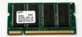 256 MB DDR-RAM 200-pin SO-DIMM PC-2100S   Samsung M470L3224DT0-CB0