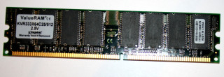 512 MB DDR-RAM PC-2700U nonECC 184-pin Kingston KVR333X64C25/512 9905144