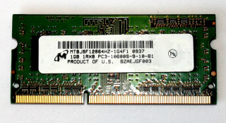 1 GB DDR3-RAM 1Rx8 SO-DIMM PC3-10600S  Micron MT8JSF12864HZ-1G4F1