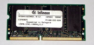 128 MB SO-DIMM 144-pin SD-RAM PC-100  Infineon HYS64V16220GDL-8-C2