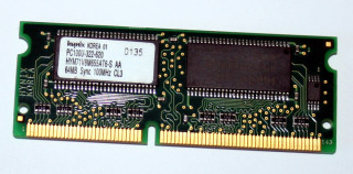 64 MB SO-DIMM 144-pin PC-100  CL3 Hynix HYM71V8M655 AT6-S AA