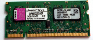 1 GB DDR2 RAM PC2-5300S DDR2-667  Kingston KVR667D2SO/1G